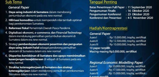 Call For Paper: Strategi Pertumbuhan Ekonomi Sumatera untuk mendukung Pemulihan dan Percepatan Pertumbuhan Perekonomian Indonesia dalam Era New Normal