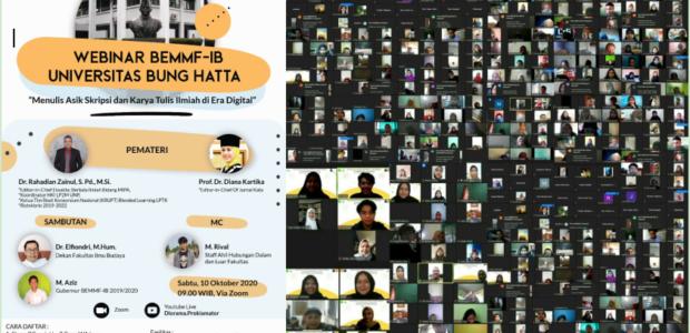 WEBINAR BEMMF-IB UNIVERSITAS BUNG HATTA, SABTU(10/10/2020)DIIKUTI 9.406 PESERTA.